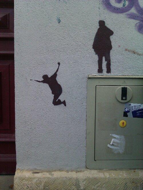 Stencil Streetart in Dresden-Friedrichstadt